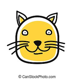 Cartoon animal head icon. Cat face avatar for profile of social networks. Hand drawn design