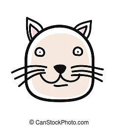 Cartoon animal head icon. Cat face avatar for profile of social networks. Hand drawn design.