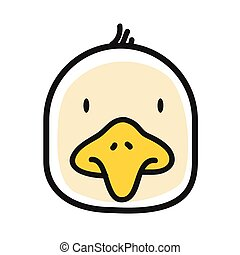 Cartoon animal head icon. Chiken face avatar for profile of social networks. Hand drawn design.