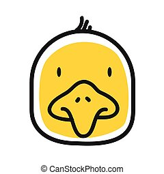 Cartoon animal head icon. Chiken face avatar for profile of social networks. Hand drawn design