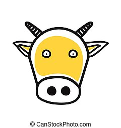 Cartoon animal head icon. Cow face avatar for profile of social networks. Hand drawn design