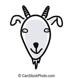 Cartoon animal head icon. Goat face avatar for profile of social networks. Hand drawn design.