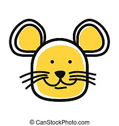 Cartoon animal head icon. Mouse face avatar for profile of social networks. Hand drawn design