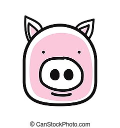 Cartoon animal head icon. Pig face avatar for profile of social networks. Hand drawn design.
