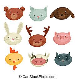 cartoon animal head, illustration