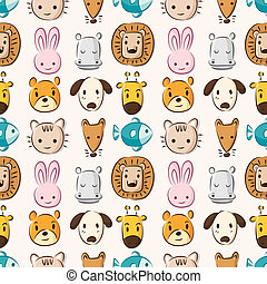 Cartoon animal head seamless pattern