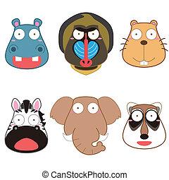 cartoon animal head set