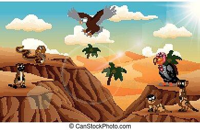 Cartoon animal in the desert background