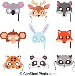 Cartoon animal party mask vector. - Cartoon animal party...