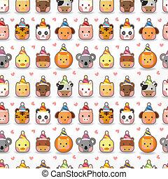 cartoon animal party seamless pattern