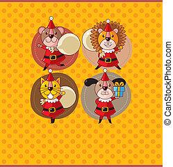 cartoon animal Santa Claus,xmas card