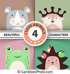 Cartoon animal set - rhino, deer, frog, hedgehog