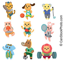 cartoon animal sport player icons set