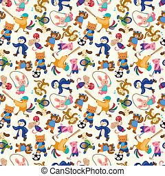 cartoon animal sport player seamless pattern