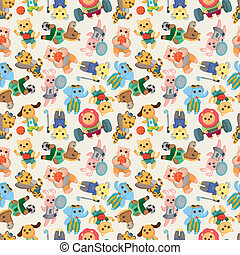 cartoon animal sport player seamless pattern