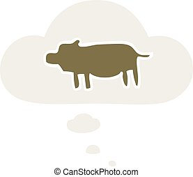 cartoon animal symbol and thought bubble in retro style