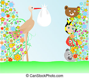 cartoon animals and baby viewing stork with bag