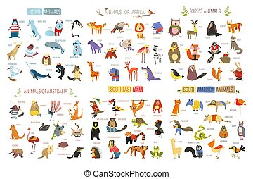 Cartoon animals and birds of different continents. Vector ...