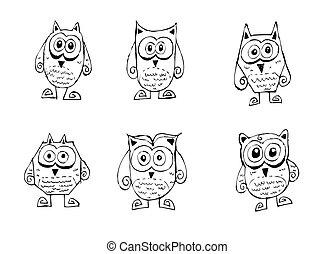 Cartoon animals and owls