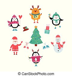 Cartoon animals around Christmas tree - cute penguin, deer, snowman and Santa having a winter holiday party
