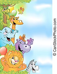 Cartoon animals, cheerful background for poster or birthday...