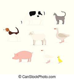 Cartoon animals collection - Farm animals set isolated on...