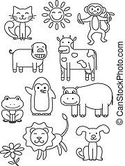 Cartoon Animals Coloring Book
