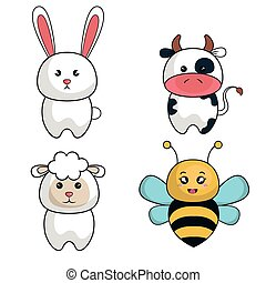 cartoon animals cute design