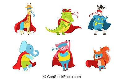 Cartoon animals in costumes of superheroes. Vector illustration.