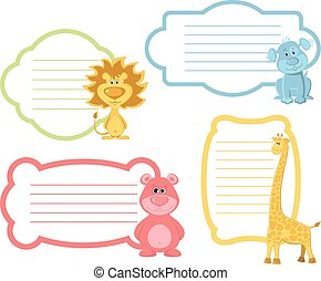 Cartoon Animals label Set