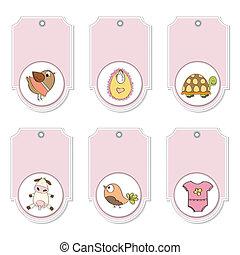 cartoon animals labels set
