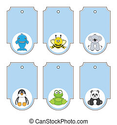Cartoon animals labels set