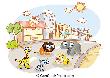 cartoon animals on city streets