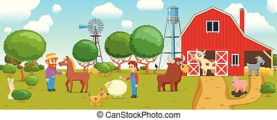 cartoon animals on farm banner - Cartoon banner on a ...