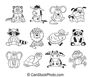 Cartoon animals outlines - Cute cartoon animals isolated on ...