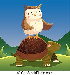 cartoon animals owl on turtle in the grass nature
