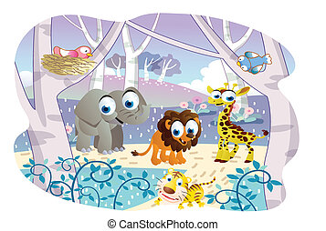 cartoon animals playing