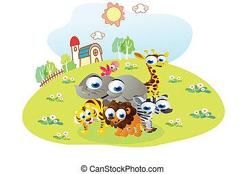 cartoon animals posing