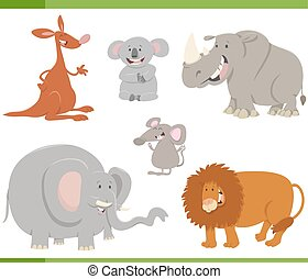 cartoon animals set illustration