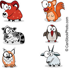 Cartoon animals - Some cartoon animals (bighorn, racoon,...