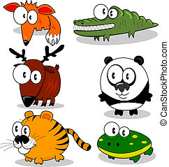 Cartoon animals - Some cartoon animals (fox, deer, tiger,...