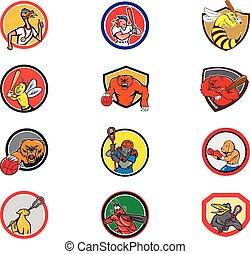 Cartoon Animals Sports Activity Mascot Set Collection - Set ...