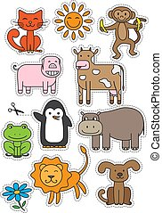 Cartoon Animals Stickers Vector Set