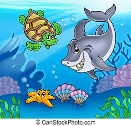 Cartoon animals underwater - color illustration.