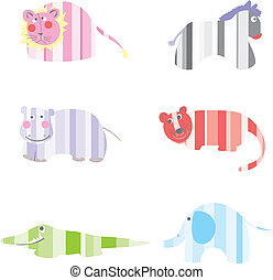 Cartoon Animals vector illustration - Drawing funny animals...