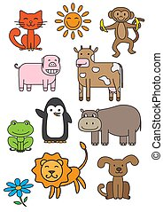 Cartoon Animals Vector Printable Set