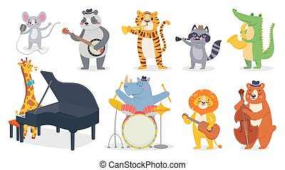 Cartoon animals with music instruments. Giraffe play piano, cute panda with banjo and alligator plays saxophone