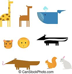 Cartoon animals. zoo set wildlife flat vector illustration.
