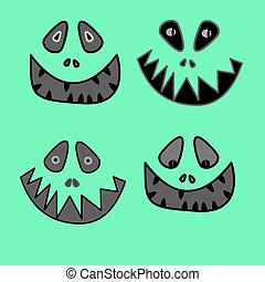 cartoon anime monster face with big toothy smile and...