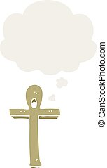 cartoon ankh symbol and thought bubble in retro style